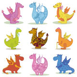 Set cartoon Dragons. Set different cartoon colorful Dragons on white background. Vector vector illustration