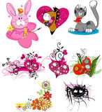 Set of cartoon drawings Stock Images