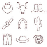 Set of cartoon drawn icons on Spain theme: flag Royalty Free Stock Images