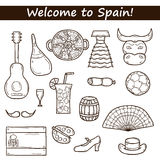 Set of cartoon drawn icons on Spain theme: flag Stock Image