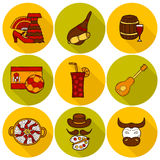 Set of cartoon drawn icons on Spain theme: flag Royalty Free Stock Photos
