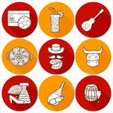 Set of cartoon drawn icons on Spain theme: flag Royalty Free Stock Image