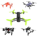 Set of cartoon drones. Isometric. Vector illustration. Royalty Free Stock Images