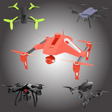 Set of cartoon drones. Isometric. Vector illustration. Realistic remote air drone quad-copter with camera. Vector illustration on abstract background Royalty Free Stock Image
