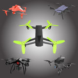 Set of cartoon drones. Isometric. Vector illustration. Realistic remote air drone quad-copter with camera. Vector illustration on abstract background Royalty Free Stock Images