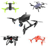 Set of cartoon drones. Isometric. Vector illustration. Realistic remote air drone quad-copter with camera. Vector illustration on abstract background Stock Images