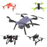 Set of cartoon drones. Isometric. Vector illustration. Realistic remote air drone quad-copter with camera. Vector illustration on abstract background Stock Photos