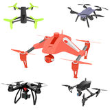 Set of cartoon drones. Isometric. Vector illustration. Realistic remote air drone quad-copter with camera. Vector illustration on abstract background Royalty Free Stock Photos