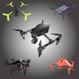 Set of cartoon drones. Isometric. Vector illustration. Stock Image