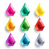 Set of cartoon drop, pear different color crystals. Gemstones, gems,diamonds vector gui assets collection for game design isolated on white background. Gui stock illustration