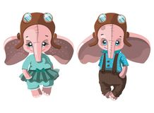 Set of cartoon elephants. Collection of cute elephants in clothes. Plush toys for kids. Colorful vector illustration for vector illustration