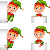 Set of cartoon elf with blank sign Stock Images
