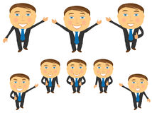 Set of cartoon emotional businessman Royalty Free Stock Photo