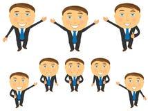 Set of cartoon emotional businessman. Cute set of cartoon happy emotional businessman royalty free illustration