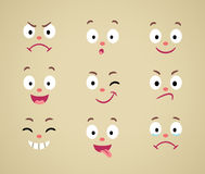 Set of cartoon emotional faces Royalty Free Stock Images