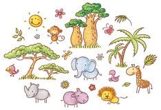Set of cartoon exotic African animals and plants royalty free illustration