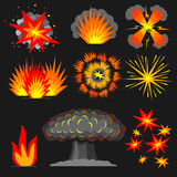 Set cartoon explosions. Royalty Free Stock Images