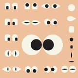 Set of cartoon eyes for the characters Stock Photo