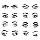 Set of cartoon eyes. Isolated decorative eyes icons. vector illustration of woman eyes. different eyes expressions. woman isolated vector eyes and eyebrows stock illustration