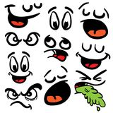 Set of cartoon eyes and mouths. Isolated on white royalty free illustration