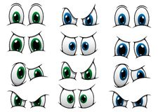 Set of cartoon eyes showing various expression. Set of cartoon eyes with blue and green irises showing various expressions from anger, through surprise to a royalty free illustration