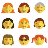 Set of cartoon face emotions Royalty Free Stock Photos