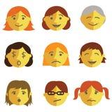 Set of cartoon face emotions. Flat design Royalty Free Stock Photos