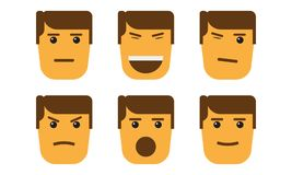 Set of cartoon face emotions with minimalism style. Royalty Free Stock Photography