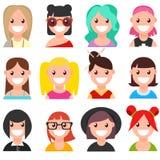Set of cartoon faces. Girls. Part 1. Set of 12 cartoon women faces. Girls. Part 1. Vector flat  illustration Stock Photos