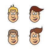 Set of cartoon faces of a man,  Royalty Free Stock Image