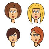 Set of cartoon faces of a woman,  Stock Images
