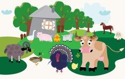 Set of cartoon farm animals stock illustration