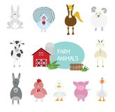 Set of cartoon farm animals. stock illustration