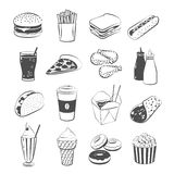 Set of cartoon fast food: hamburger, french fries, sandwich, hot dog, pizza, chicken, ketchup and mustard, taco, coffee. Royalty Free Stock Photography
