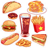 Set of cartoon fast-food icons on white background. Set of cartoon fast-food icons. Vector icons set on a white background stock illustration