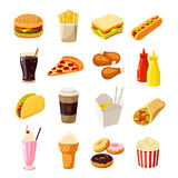 Set of cartoon fast food. Vector illustration, eps10, isolated on white. Stock Images