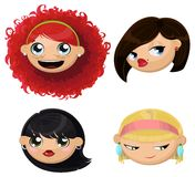 Set of 4 cartoon female heads Stock Image