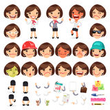 Set of Cartoon Female Manager Character Royalty Free Stock Image