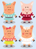 Set of cartoon female pigs Royalty Free Stock Images