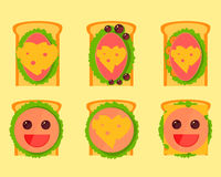 Set of cartoon and festive sandwiches. Set of cartoons and festive sandwiches for parties for children on holidaysn Royalty Free Stock Photography