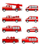 Set of cartoon firetruck. On white background. Vector Stock Photography