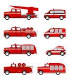 Set of cartoon firetruck Stock Photography