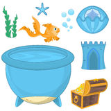Set of cartoon fish, elements for aquarium decoration. Set of colorful underwater design elements  for making your own aquarium Royalty Free Stock Photography