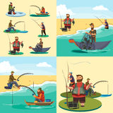 Set of cartoon fisherman catches fish sitting boat fisher threw fishing rod into water, happy fishman holds catch and. Spin, man pulls net out of the water Stock Photos