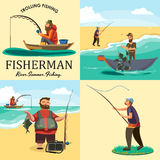 Set of cartoon fisherman catches fish sitting boat fisher threw fishing rod into water, happy fishman holds catch and. Spin, man pulls net out of the water Stock Photography