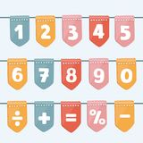 Set of cartoon flag garlands with alphabet: letters and numbers. celebrations, festivals, fairs, markets, party and carnival. stock illustration