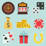 Set Of Cartoon Flat Casino Icons. For Sites Stock Photography