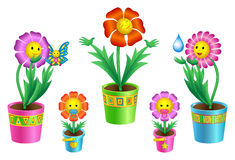 Set of cartoon flowers in pots Stock Photos