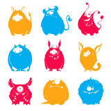 Set of cartoon fluffy monsters Royalty Free Stock Photography