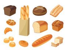 Set of cartoon food: bread Royalty Free Stock Image